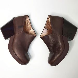 Camper Brown Leather Chunky Heel Ankle Booties 7